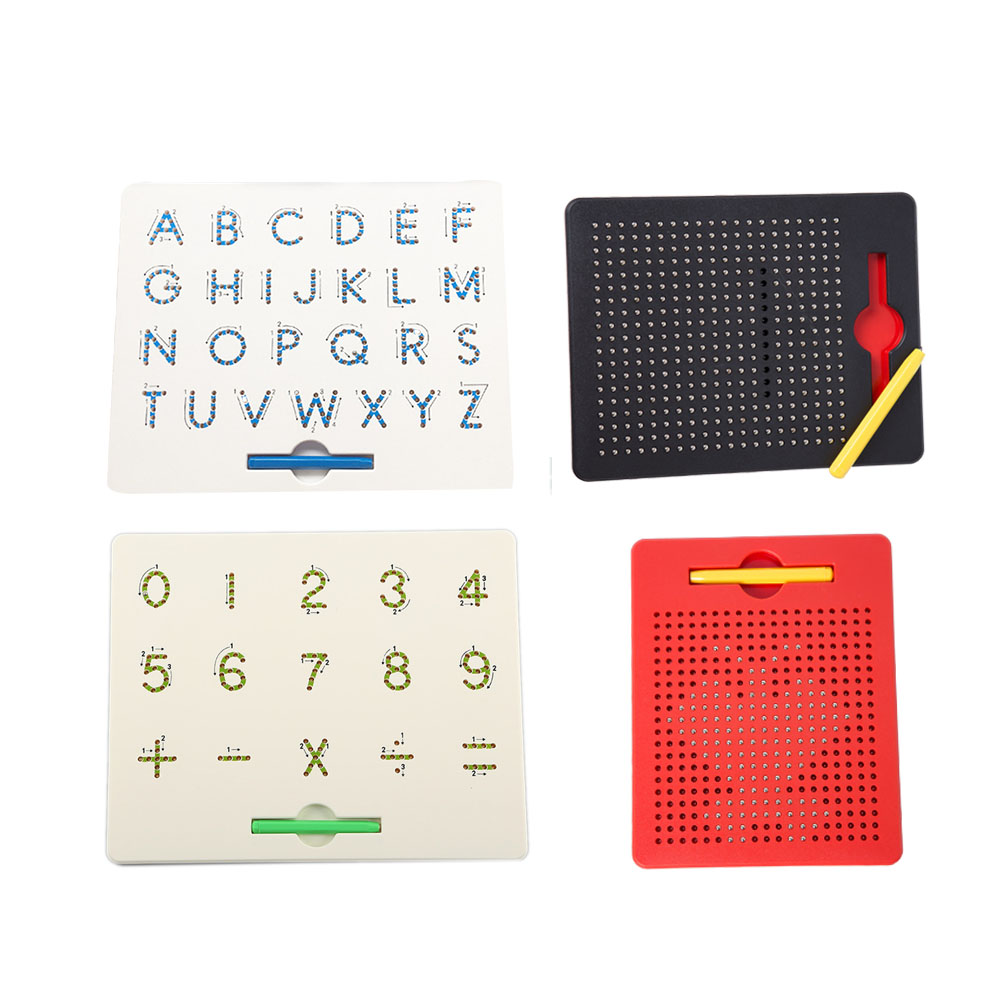Magnetic Tablet Drawing Board Pad Toy Bead Magnet Stylus Pen 26 Alphabet Numbers Writing Memo Board Learning Educational Kid Toy