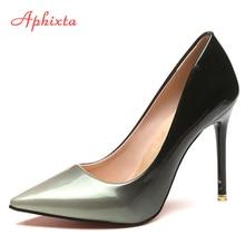 Aphixta Fashion Women Pumps Fashion Gradient Color High Heels Pointed Toe  Patent Leather Wedding Party Shoes Woman Big Size 42 981c059ba822