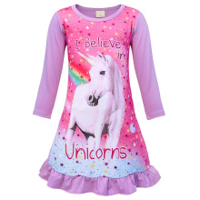 AmzBarley Cartoon Unicorn Pajamas Casual Girls Nightgown kids Cotton Sleepwear Rainbow ptinted Nightclothes children Night Dress недорого