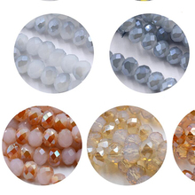 FLTMRH 145Pcs/Lot 4mm Mixed Faceted Glass Crystal Spacer Rondelle Beads Crystal Glass Beads For Jewelry Making
