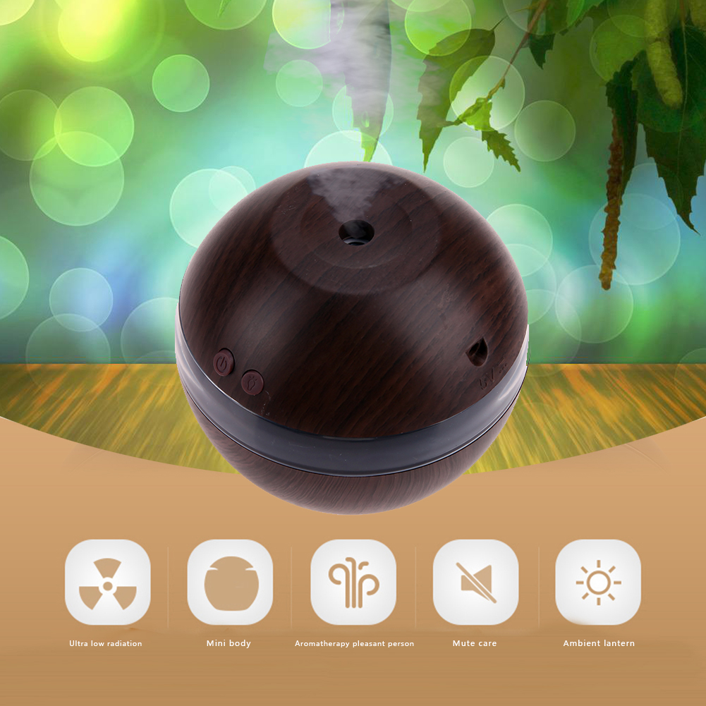 1l Air Humidifier Essential Oil Diffuser Usb Wooden