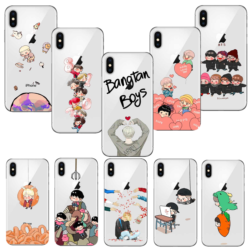 Galleria fotografica BTS Korea Bangtan Boys Soft Silicone Phone Case cover for iphone 6 6S 7 8 PLUS 5S 5 SE X 10 Clear ultra-thin Coque Fundas Capa