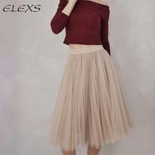 ELEXS New Fashion Three Layer Tulle Skirts Women's Black Gray White Adult Tulle Skirt Elastic High Waist Pleated Midi Skirt 7401