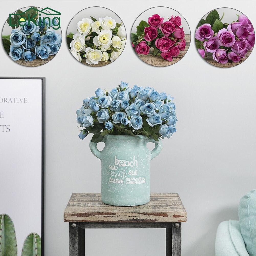 15 Heads Artificial Flowers Silk Rose Bouquet Plants For Home Garden Wedding Party Car Office Decoration Arrangement
