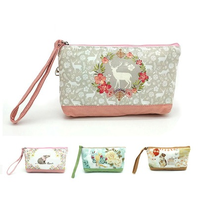 Coin Purse Vintage Flower Coin Pouch With Zipper,Make Up Bag,Wallet Bag Change Pouch Key Holder