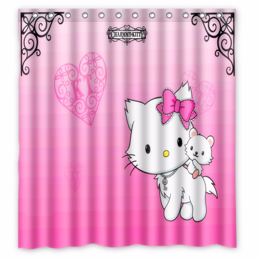 66 X72 Inch Hello Kitty Shower Curtain Waterproof Fabric For Bathroom In Curtains From Home Garden On Aliexpress