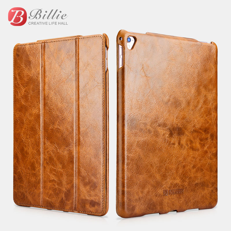 цена на icarer smart cover For iPad Pro 9.7 Genuine Leather Cases For Apple iPad Pro 9.7 Luxury magnet case Protective stand Shell Skin