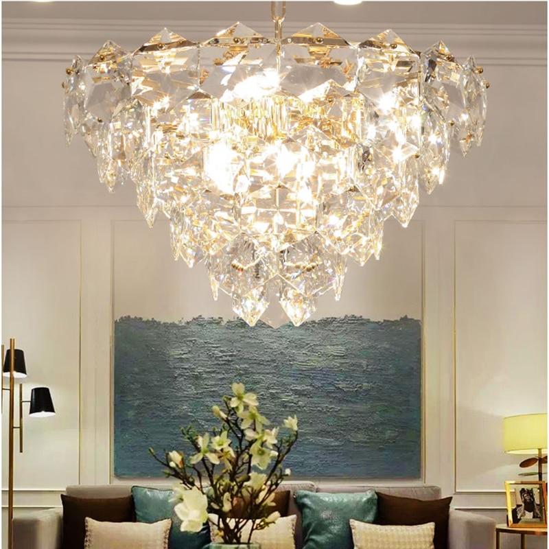 Led De Cristal moderna Sala de estar Iluminação Lustre de Metal Ouro Led Luzes Pingente Lustres Sala de Jantar Pendurado Dispositivos Elétricos Da Lâmpada