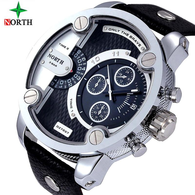 2016 lujo marca norte Relojes Hombre Deportes cuero 30m impermeable Cuarzo Pulso Hombre Mujer Reloj relogios masculino