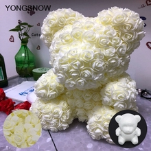 White Mini Bear Rose Wedding Decoration Teddy Artificial PE Foam Flowers DIY Scrapbooking Craft Fake Flower Party Supplies