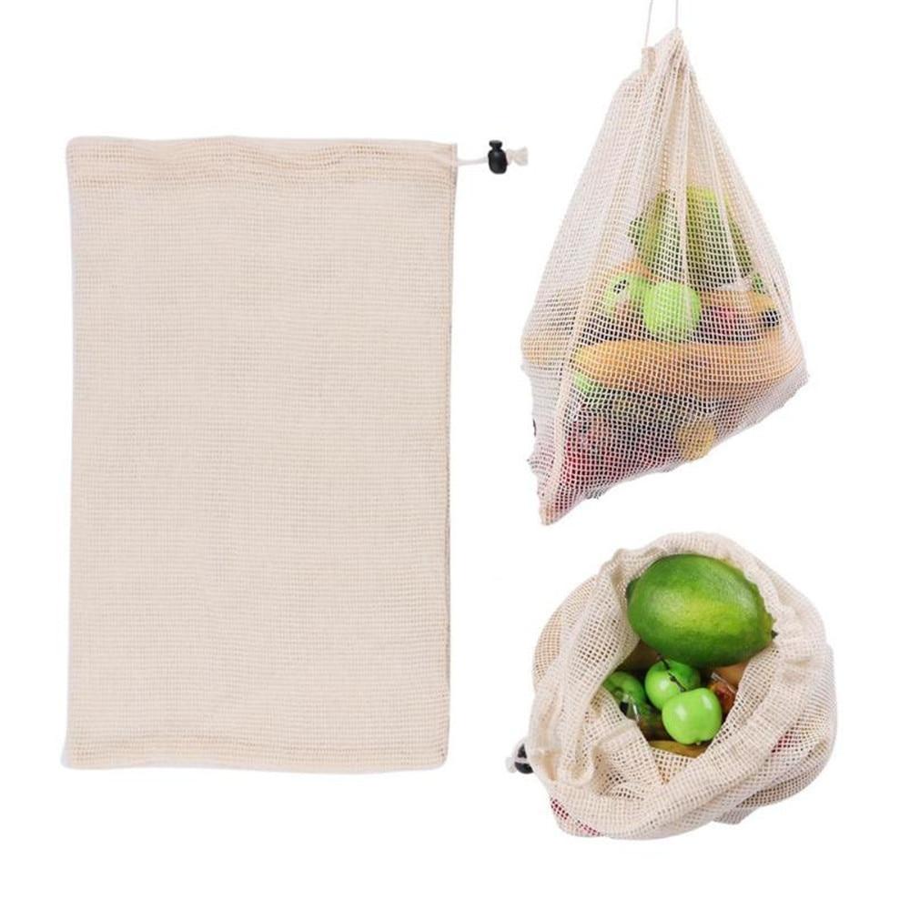 Reusable Organic Cotton Vegetable Mesh Bag For Men Women Home Kitchen Washable Fruit Grocery Drawstring Shopping Bags 1PC