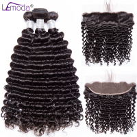 LeModa Brazilian Deep Wave Hair Bundles With Frontal Human Hair 3 Bundles With Frontal Closure Remy Hair Extensions Color 1B