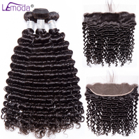 Lemoda Deep Wave Brazilian Hair Bundles with Frontal Closure Remy Hair Bundles with Frontal Human Hair Bundles with Lace Frontal