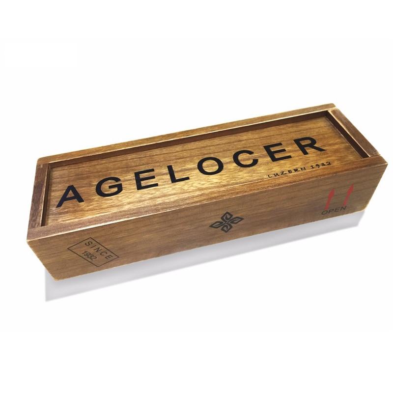 AGELOCER Original caisse en bois robe hommes femmes Rectangle forme Original montre boîte bois coffrets cadeaux