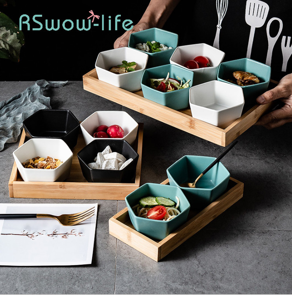 Kitchen Utensils Creative 2/4/6 Combination Grid Dish Nut Swing Tray Snack Tray Household Ceramic Bowl For Restaurant Supplies