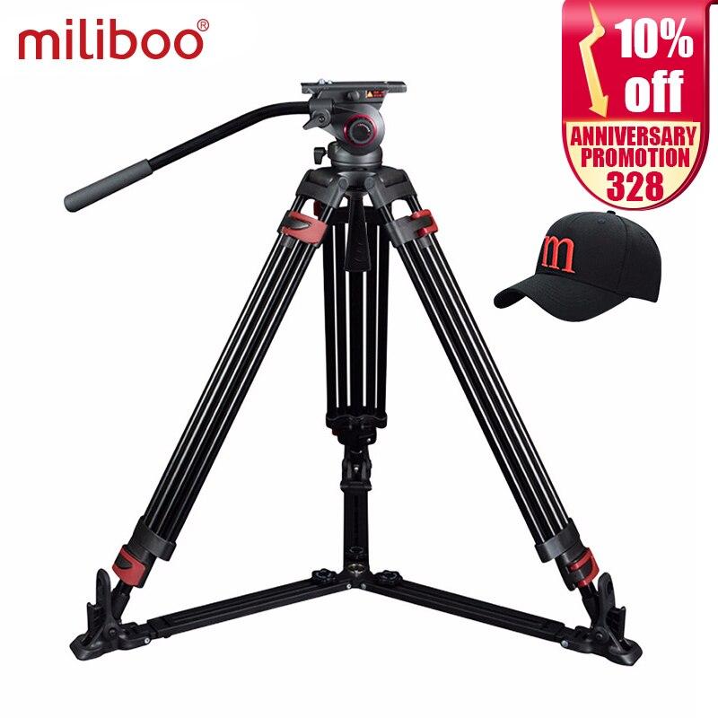 Miliboo MTT609A Profissional Heavy Duty Hidráulica Cabeça Bola Tripé de Câmera para Filmadora/DSLR de Vídeo Suporte de Tripé Carga 15 kg max
