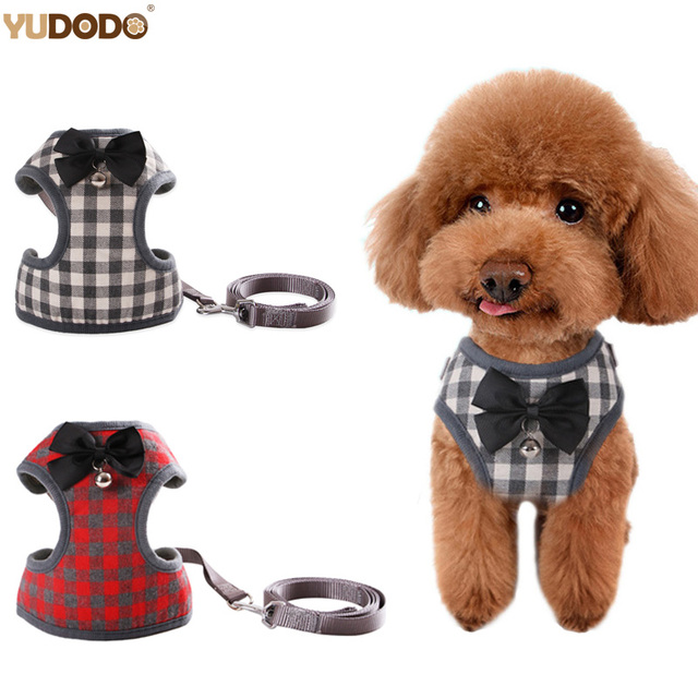 Nylon Adjustable Small Dog Harness Breathable Puppy Leash Set With