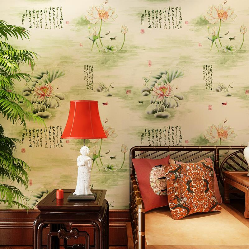ФОТО 2015 3d modern retro classical Chinese painting lotus nonwoven wallpaper living room bedroom backdrop