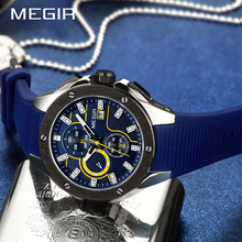 MEGIR Men Sport Watch Chronograph Silicone Strap Quartz Army Military Watches Clock Men Top Brand Luxury Male Relogio Masculino