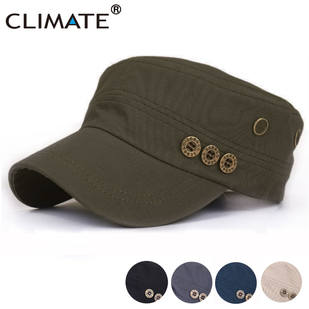 CLIMATE 2017 New Summer Men Cotton Solid Army Green Flat Top Caps Hat Men Adjustable Hunting Army Green Caps Hat fashion rivets cotton polyester fiber men s flat top hat cap army green