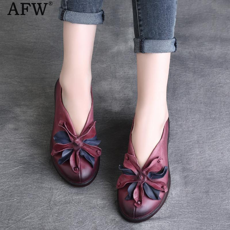 AFW Women Flower Flats Soft Leather Low Heel Spring Shoes Slip On Ladies Loafers Genuine Leather Retro Women Shoes Handmade 2018 wdzkn flower print women casual shoes slip on flats hollow out soft split leather women loafers big size ladies shoes 35 42