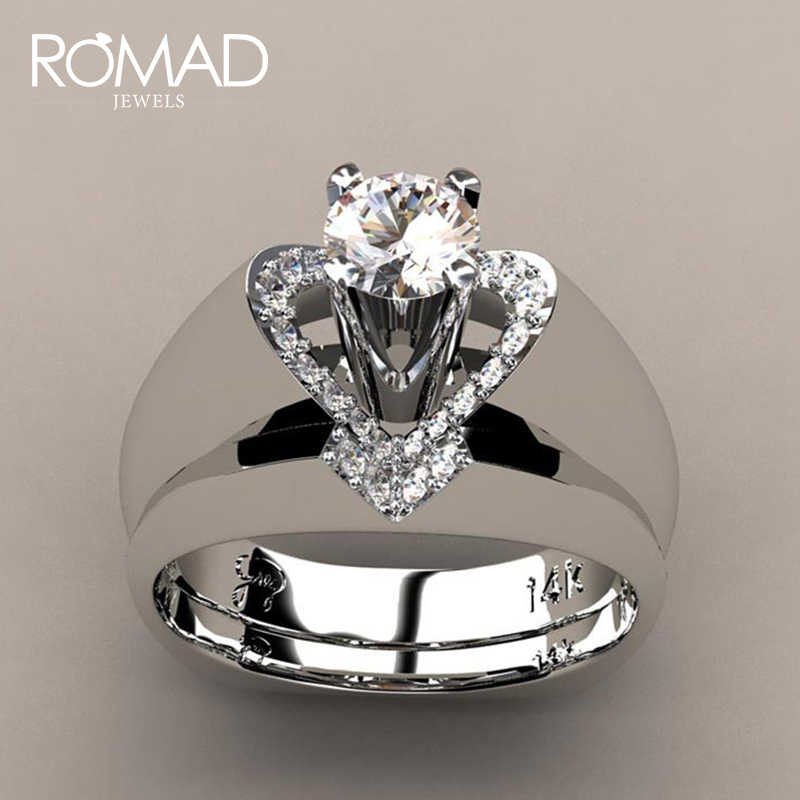 ROMAD 2019 New Crystal White Wedding Luxury Ring Silver Color Engagement Fashion Vintage Bridal Wedding Rings For Women Gift R5
