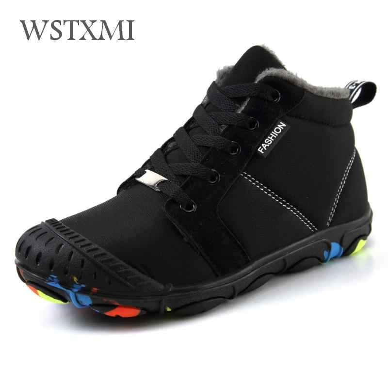 Winter Kids Boots for Boys Ankle Snow Boot Girls Warm Cotton Shoes Rubber Non-slip Waterproof Cloth Plush Children Martin Boots