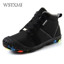 Winter Kids Boots for Boys Ankle Snow Boot Girls Warm Cotton Shoes Rubber Non slip Waterproof Cloth Plush Children Martin Boots