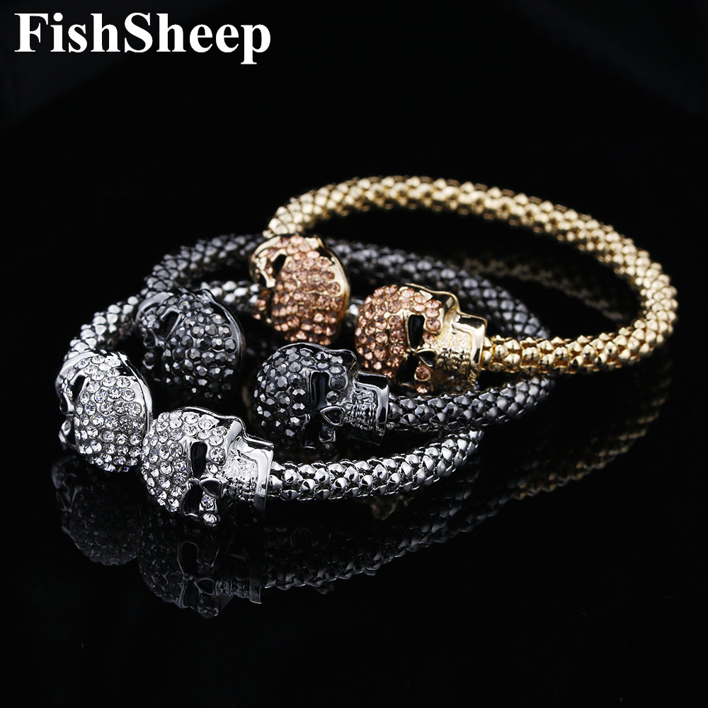 Punk Skull Crystal Open Bangle For Men 3 Color Gothic Skeleton Double Skull Heads Cuff Bracelets & Bangles Men's Jewelry