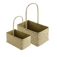 2 Pcs Set Rectangle Seagrass Woven Flower Basket Tote Storage Basket With Handle Pastoral Style Handmade