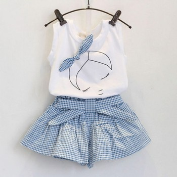 2018 Summer Casual Children Baby Sets Flowers Blue T-shirt+ Pants Girls Clothing Sets Kids Summer Suit For 3-7 Years conjuntos casuales para niñas