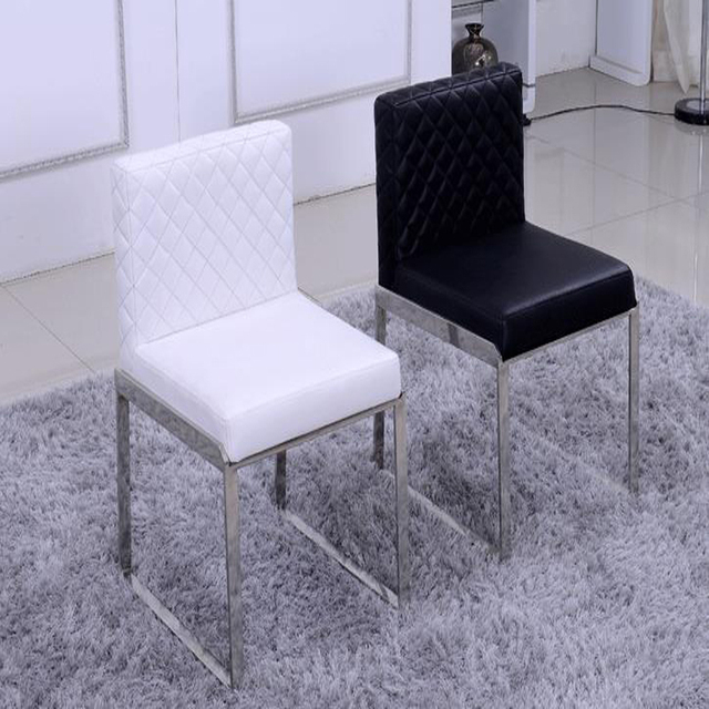 Hot  Fashion Leather dining chair,live room furniture 100% Stainless steel chair,red black white Metal+ Leather dining chair