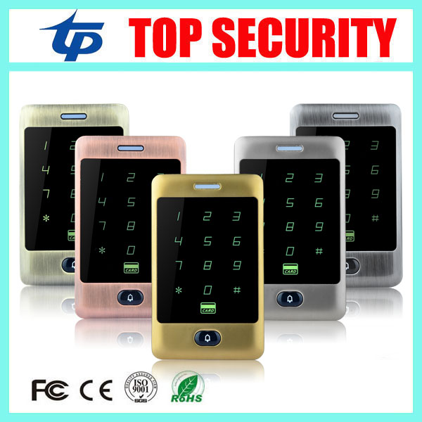 Different color standalone RFID card access control system 8000 users touch keypad surface waterproof door access control reader wg input rfid em card reader ip68 waterproof metal standalone door lock access control with keypad support 2000 card users