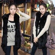 2016 New Arrival Autumn Winter Women Fashion Imitation Rabbit Fur With A Hooded Fur Vest Coat Long Vest Black/Apricot B26