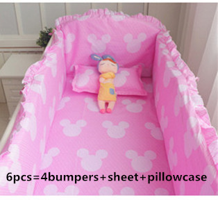 Promotion! 6PCS Baby Cot Beds Baby Bedding Set Crib Cradle (bumper+sheet+pillow cover)