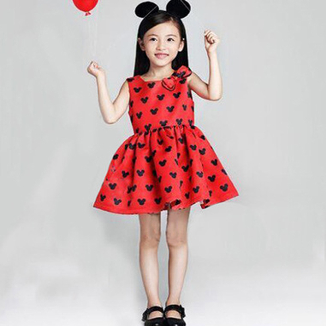 5126c91de79 US $8.63 28% OFF|JENYA 2017 new arrival hot sale fashion dress cartoon  Minnie head print children clothes spring summer autumn kids clothing -in  ...
