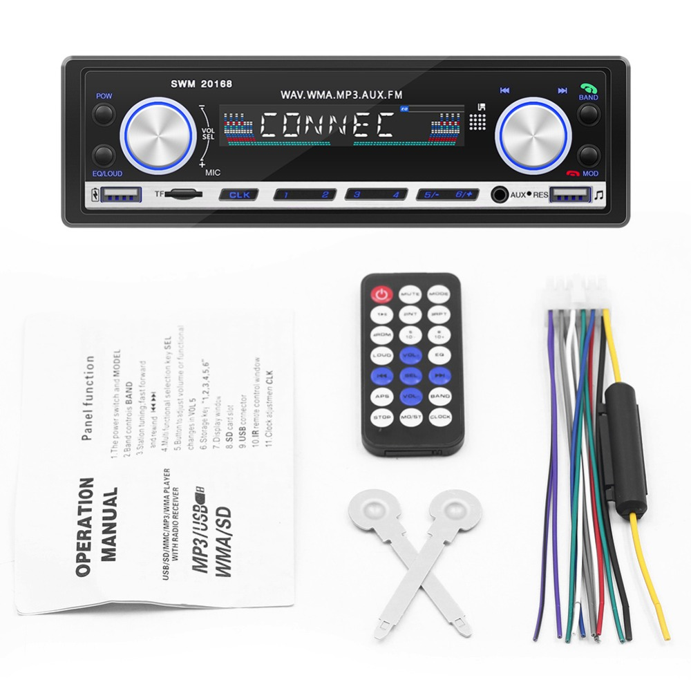 US $34 0 |Vinerone Autoradio 1 Din Car Radio 12V Bluetooth Subwoofer Car  Stereo FM Aux Input Receiver USB MP3 WMA Car Audio Player 1din-in Car  Radios