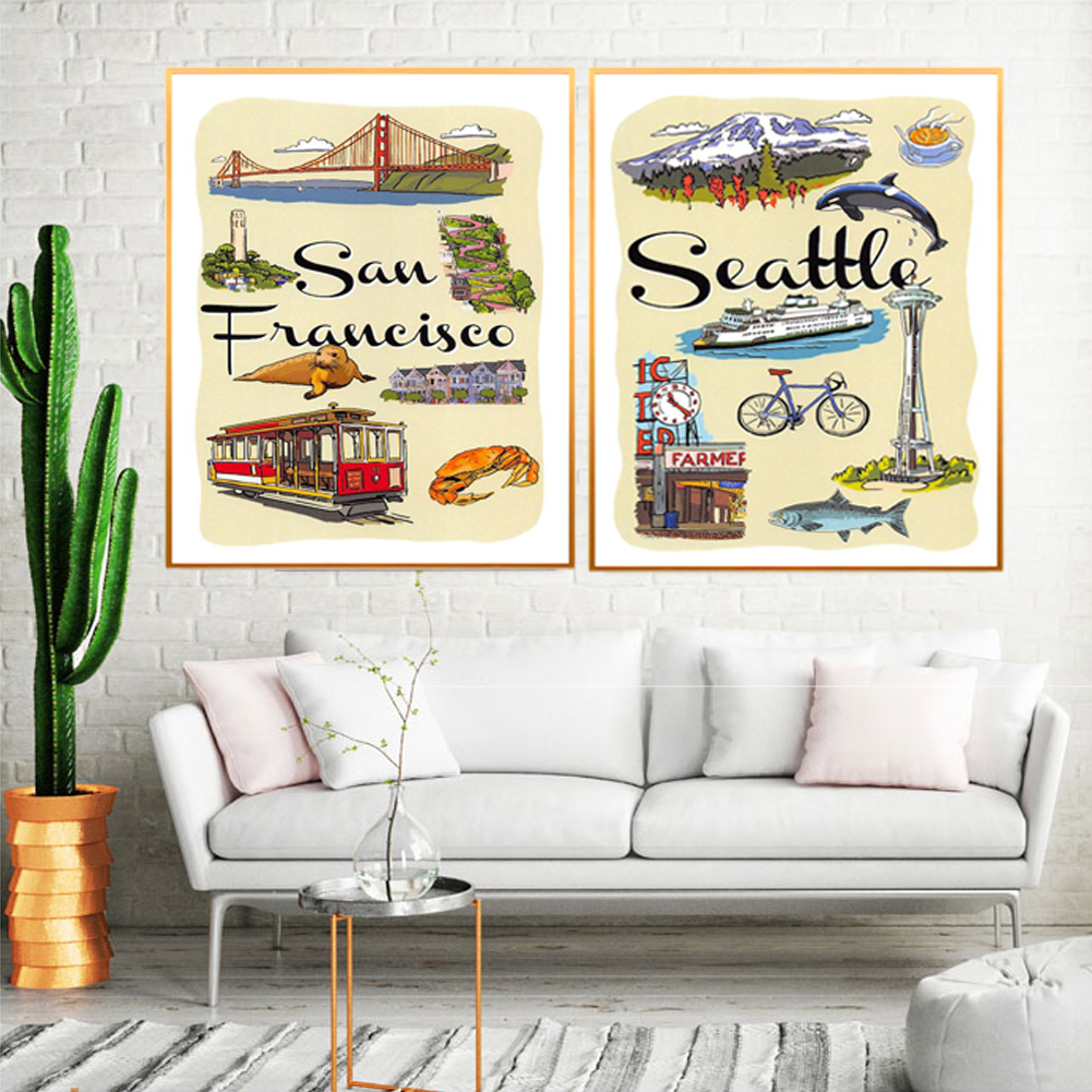 Seattle San Francisco Landmark Cartoon Canvas Painting Vintage Posters Classic Wall Stickers Wall Art Nursery Kids Bedroom Decor image