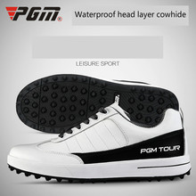 цена на PGM Men Genuine Leather Golf Shoes Breathable Ultra Light  Waterproof Sneakers fixed shoes nail anti-skid Wear-resistant Shoes