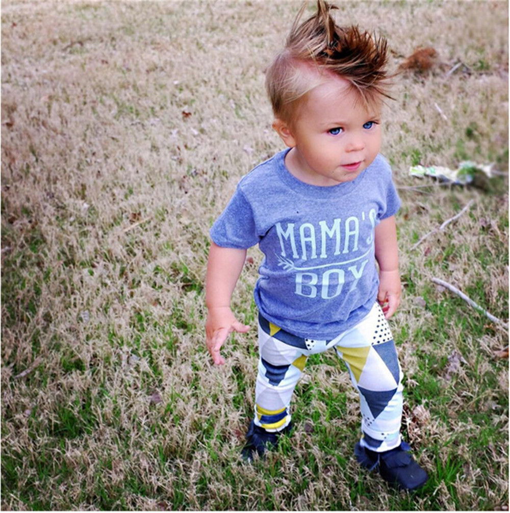 d5ac29ccb50 2018 Hot Selling Baby Boy Clothing Set Summer Short Sleeve Cotton MAMA s  Letter T-shirt+Pants Newborn Toddler Baby Boys Clothes