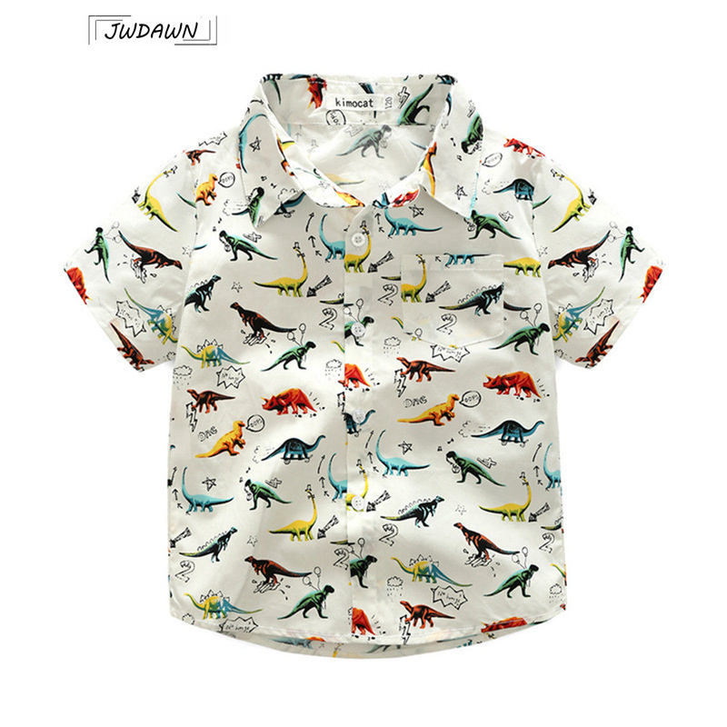 2018 Summer Baby Boys Cute Dinosaur Shirt Casual Cartoon Wild Short-Sleeved Clothes Children Clothes Hot Sale Boys Clothing 2016 summer boys short sleeved t shirt two piece children s sports suit camouflage uniforms boys