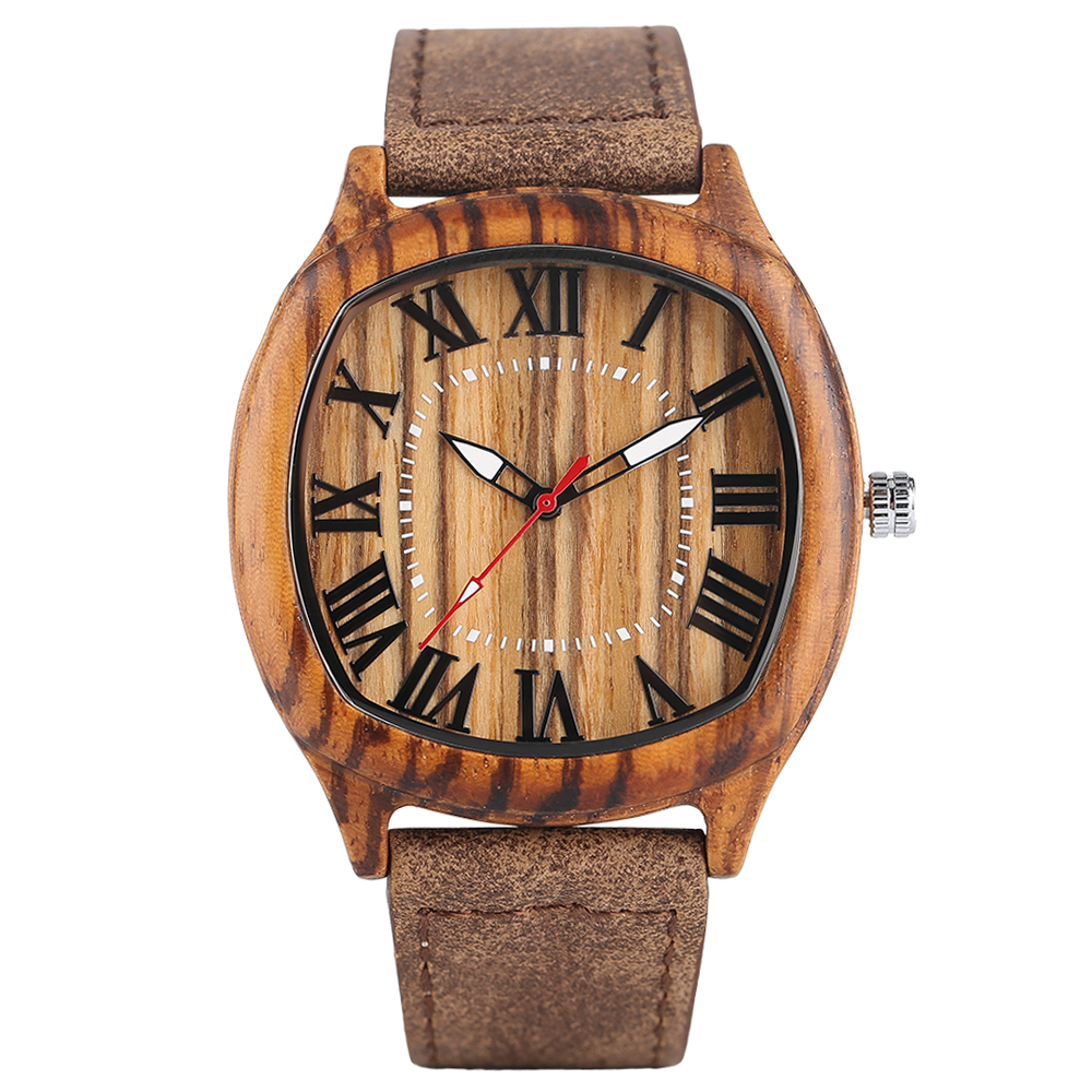 Mens Sport Bamboo Wood Wrist Watch Zebra Pattern Timber Quartz Watches Nature Wood Genuine Leather Band Pin Buckle Men Watch fashion nature wood quartz wrist watch genuine leather band bamboo pattern strap men women analog green light grey gift