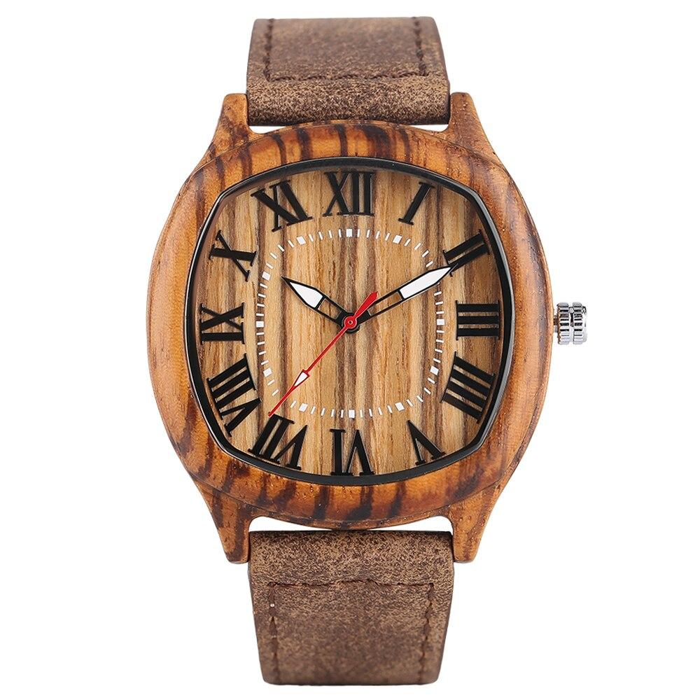 f4b1d7b496c ... Pulso Esporte Homens Padrão Zebra de Madeira Bambu Natureza Relógios  Quartzo Pulseira Couro Genuíno Pin Fivela Relógio. -33%. 🔍. Relógios ...