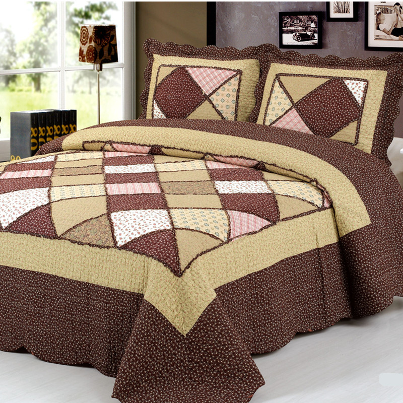 Patchwork Bedspread Plaid Cotton Quilted King Size Ruffled Bedspread Pieces Pillowcase 220*240 Size Blanket Sheet Duvet