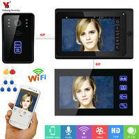 Wifi Wireless Video Doorbell Intercom Entry System 7 TFT Monitor 1000TVL Camera Door Phone System Unlock Via Monitor and Phone
