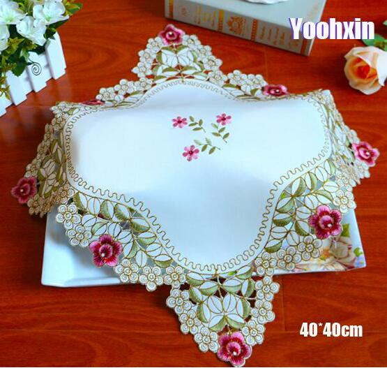 Home & Garden Tablecloths 85cm Luxury Lace Square Embroidered Table Cover Cloth Wedding Tea Kitchen White Christmas Tablecloth Placemat Mantel Nappe Decor