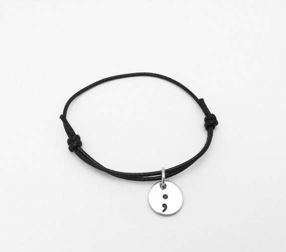 Us 1 99 Semicolon Cord Bracelet My Story Isn T Over Yet Awareness Mental Health Bracelets Jewelry Ylq0308 In Hologram