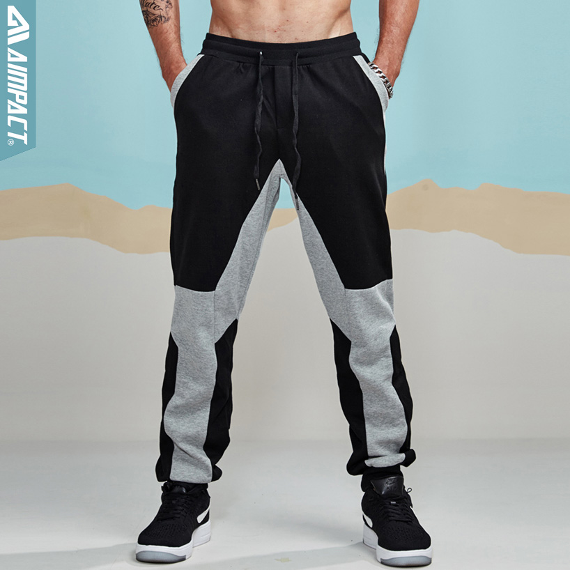 Aimpact Jogger Pants For Men Cotton Patchwork Sweatpants Fitted Tracksuit Sporty Pants Active Casual Trousers Hiphop Pant AM5004