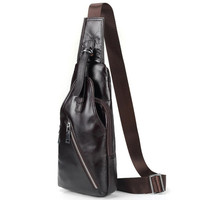 New Brand Zipper Open Shoulder Bag Genuine Leather Mens Chest Bags Fashion Travel Crossbody Bag Man