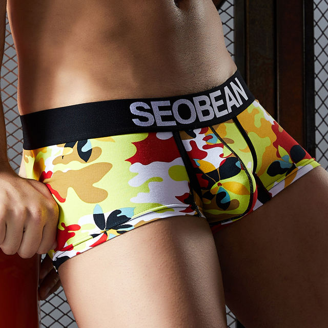 SEOBEAN NEW COMING MEN'S NEW camouflage Pattern COTTON UNDERWEAR LOW-RISE BOXERS